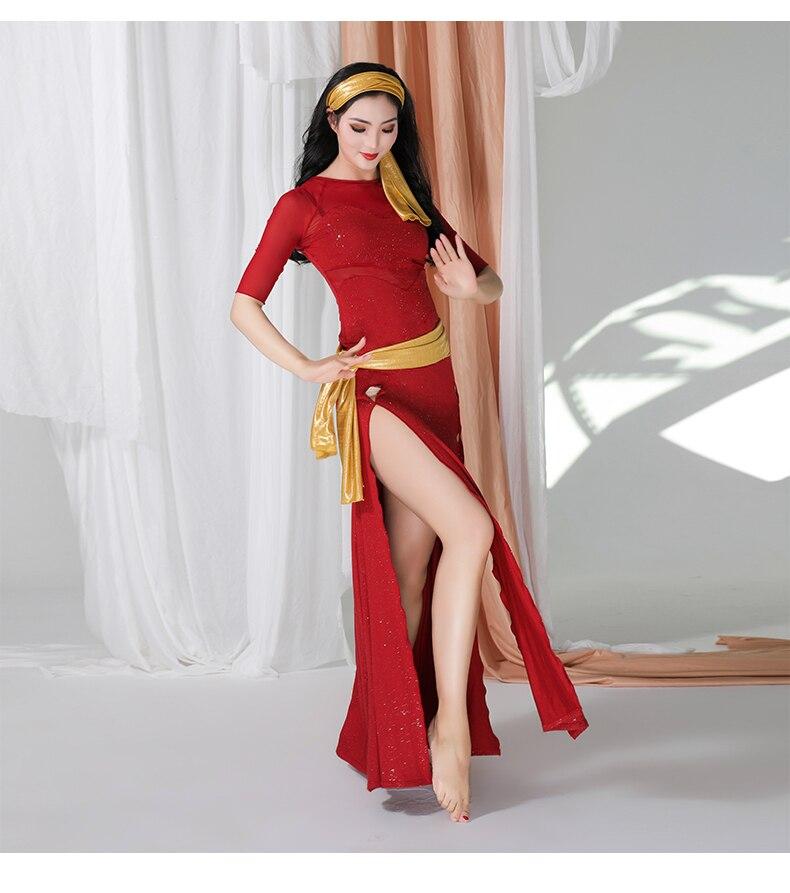 Женский костюм для танца живота, длинный костюм с блестками для восточных танцев