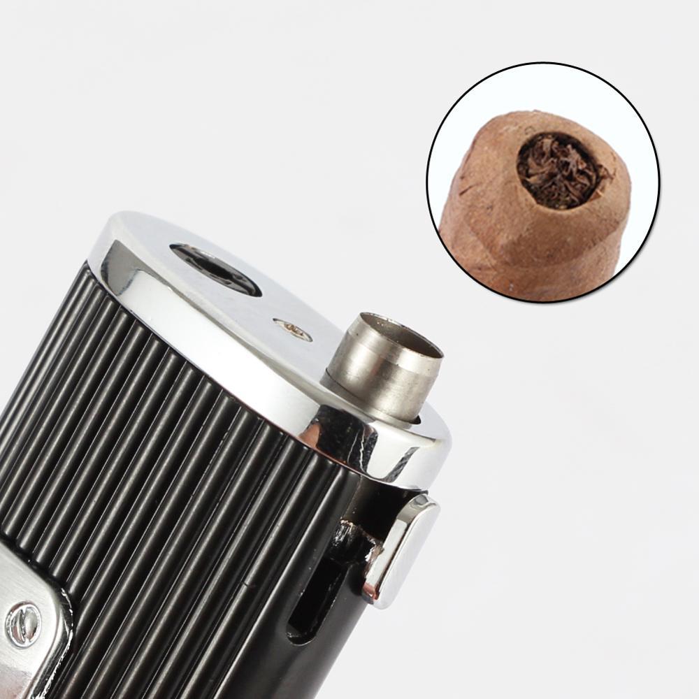 COHIBA 3 Jet Torch Cigars Lighter Windproof Metal Pocket Lighters Butane Refillable Flame Cigarette Gas Lighter W/ Cigar Punch