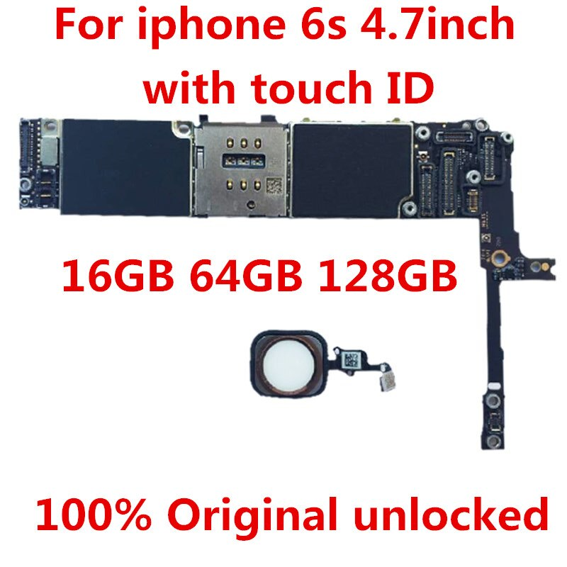 Get For iPhone 6S 32GB Motherboard,100% Original unlocked for iphone 6S 32GB Logic boards With Touch ID 32 GB  +tool+gi