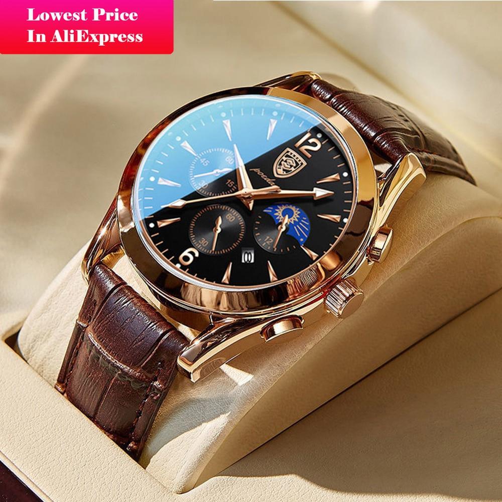 POEDAGAR Leather Fashion Men Watches Waterproof Luminous Top Brand Luxury Quartz Wristwatch with Dat