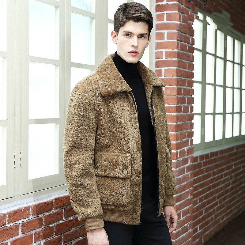 جاكيت رجالي من الجلد الطبيعي للخريف والشتاء ، معطف صوف أصلي ، عتيق Erkek Mont 340 KJ800
