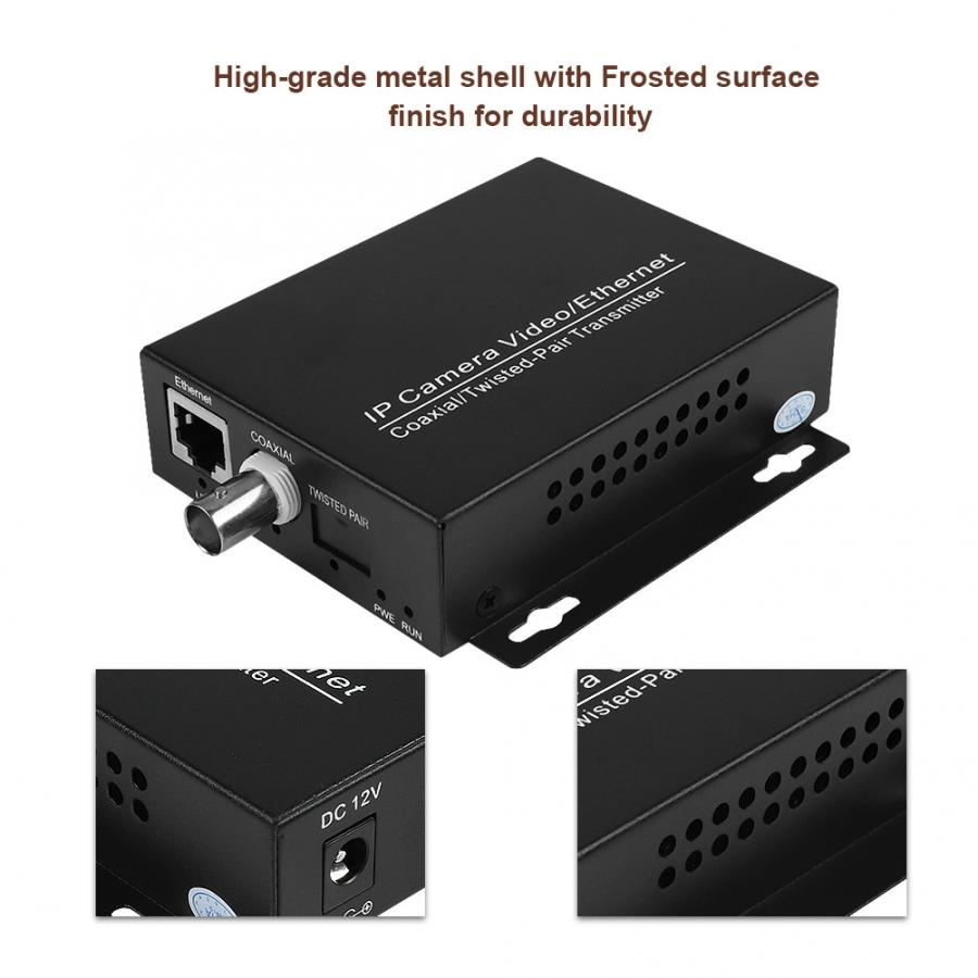 1 Pair Ethernet Extender Over Coax Converter HD Network Kit EoC Coaxial Cable Transmission Extender For CCTV Camera enlarge
