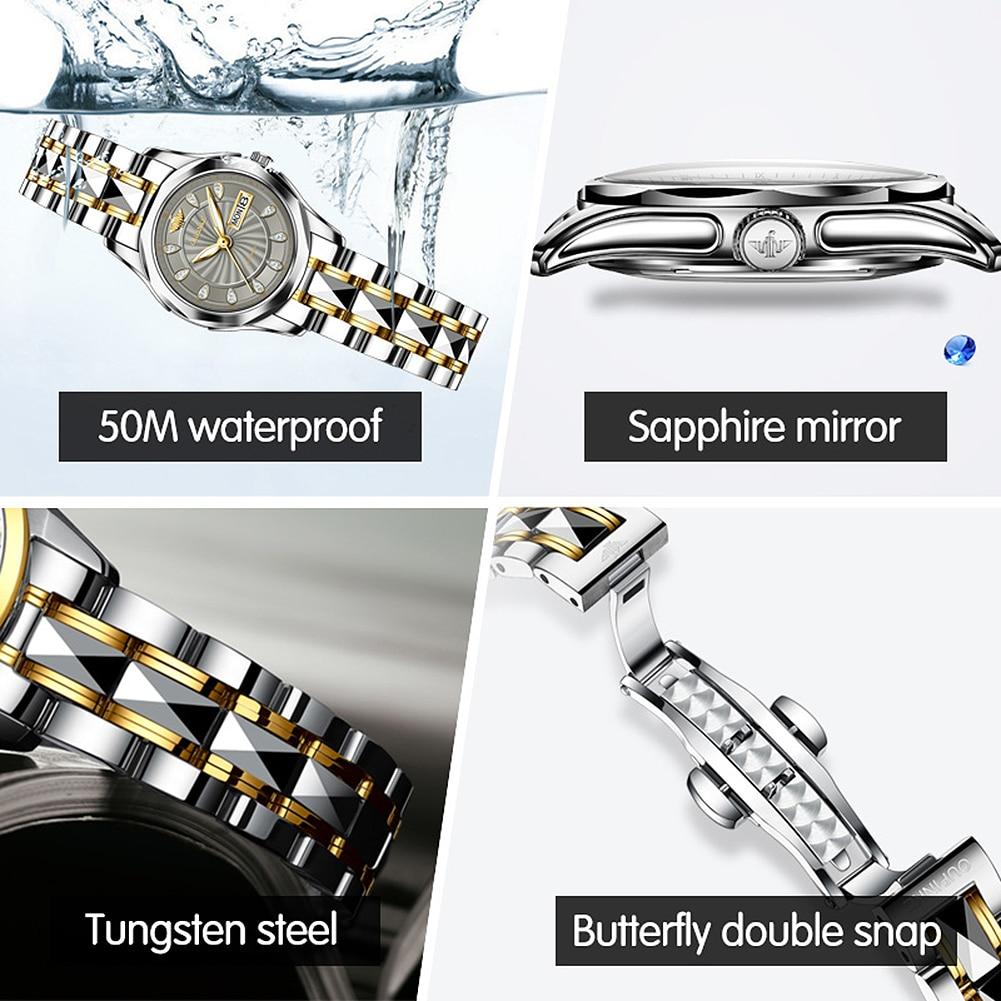 2020 OUPINKE Sword-Shaped Pointer Automatic Mechanical Watch Luxury Tungsten Steel 50m Waterproof Business Watch Women Watches enlarge
