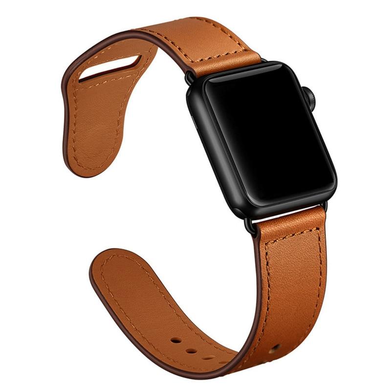 Ремешок из натуральной кожи для Apple Watch 4, 3, 2, 1, 38, 40 мм, мужской кожаный ремешок для iwatch 4, 44 мм