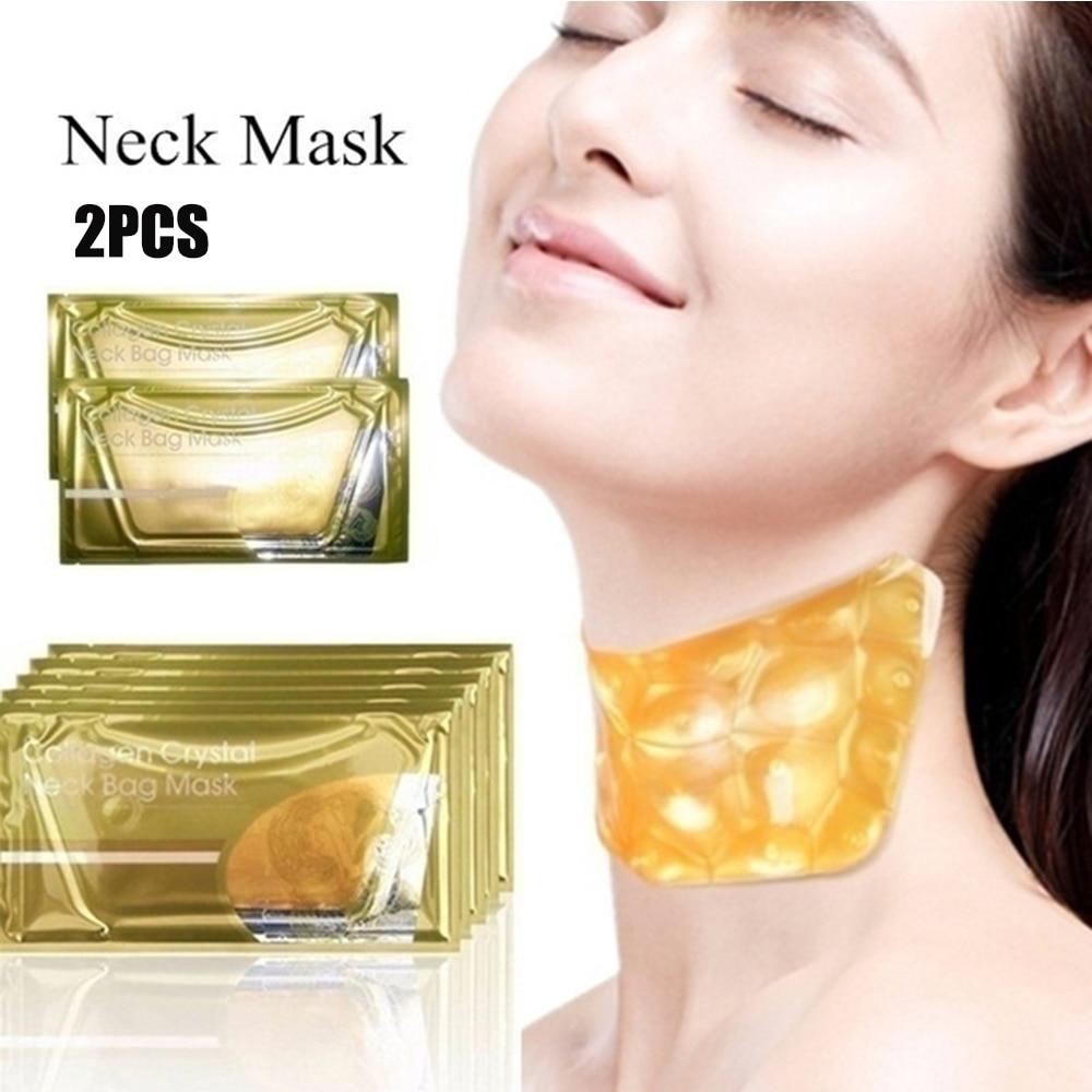 2 pièces or collagène cristal cou masque collagène cou lifting masques or cristal cou masque Anti-âge traction nourrissant soins de la peau