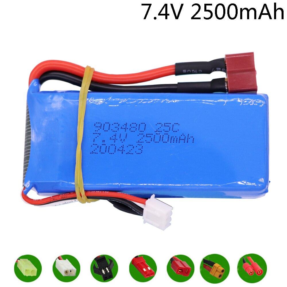 7,4 V 2500mAh Lipo batterie T/banana Stecker für 12428 12423 RC Auto Teile Syma X8C X8W X8G x8 RC Quadcopter 7,4 V 903480 Spielzeug Batterie