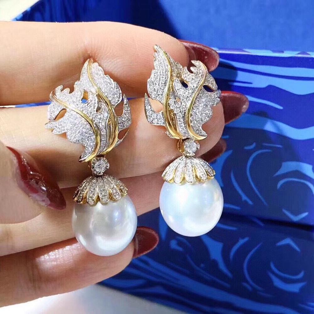 D606 brincos de pérola jóias finas 11-12mm 925 prata esterlina natureza água doce pérolas brancas gota balançar brincos para mulher