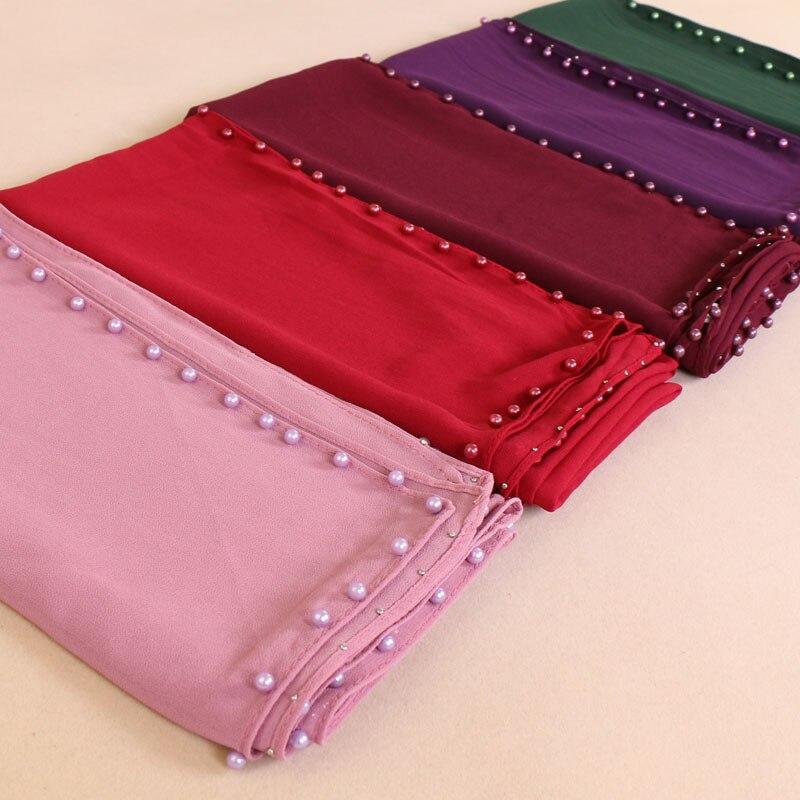 Bufandas cuadradas, chales de Chifón con burbujas lisos con perlas, hiyabs de muselina a la moda, pañoleta, chal, bufandas, bufandas al por menor