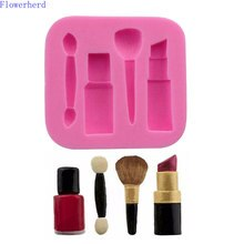 Lipstick Eyebrow Pencil Blush Brush Makeup Tool Silicone Fondant Cake Mold Baking Mold Fondant Lace Cake Decor Chocolate Mold