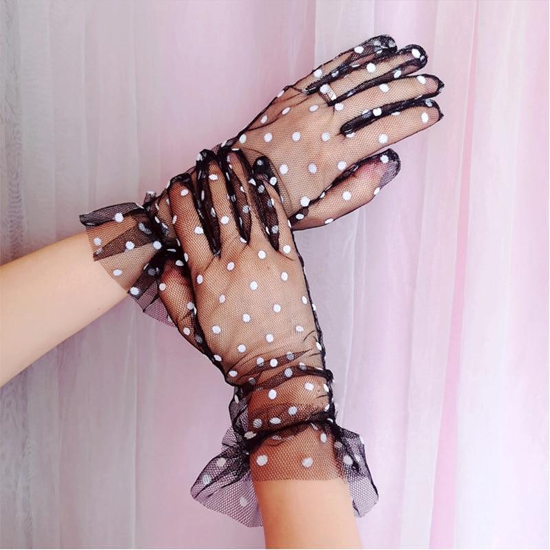 Dames sexy dot print zwart wit mesh tule handschoenen vrouwelijke - Bruiloft accessoires - Foto 3