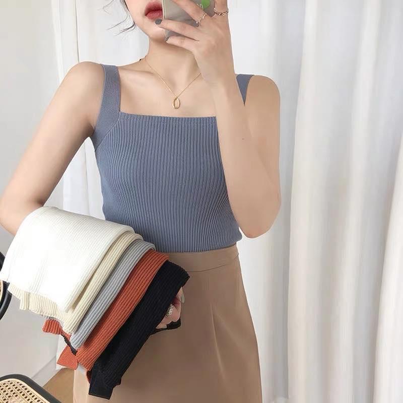 Corea mujer verano chaleco sin mangas 6 colores Camiseta de punto top Jersey cuello cuadrado ajustado fit sexy tops de las señoras lindas