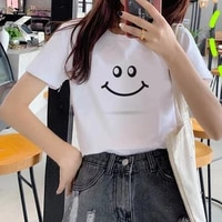 women t shirt fashion graphic tee cute t shirts and smiling face theme summer tops female women clothes casual t shirt