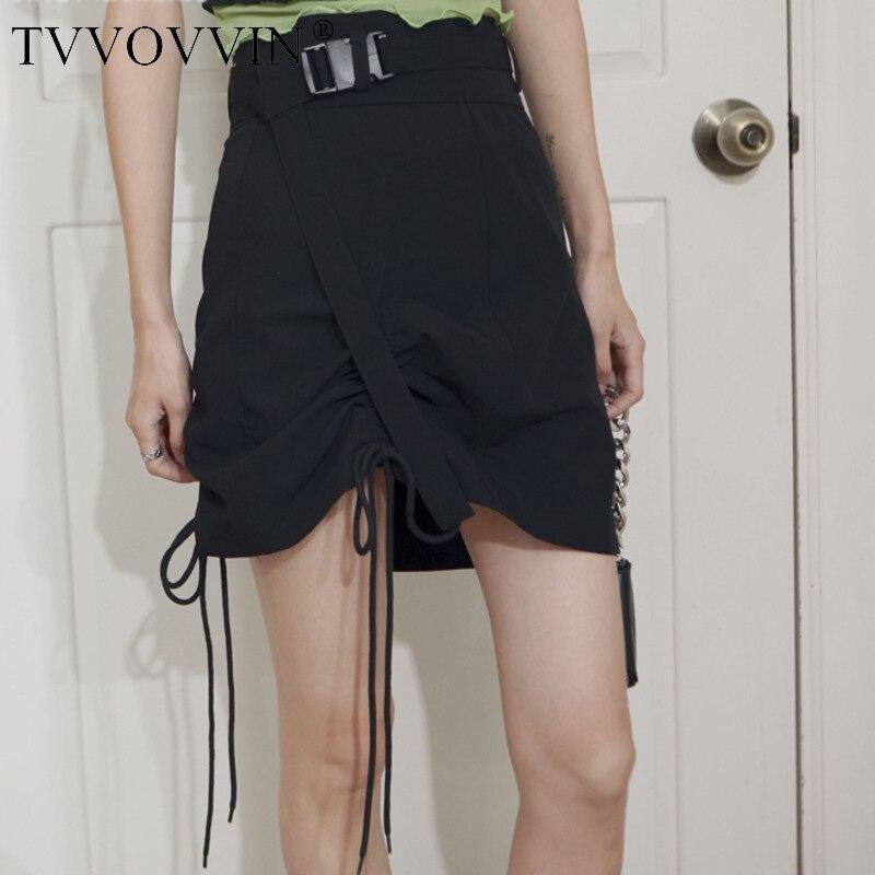 TVVOVVIN, falda con cordones negra de verano, mujer 2020, cintura alta, línea A, minifalda, falda, moda coreana, ropa FDLI
