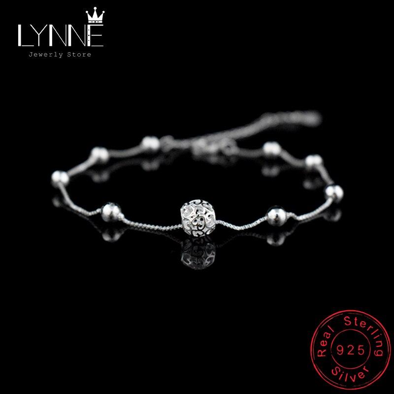 Venda quente moda 925 prata esterlina tornozeleira corrente oco bola pingente tornozeleiras pulseira corrente para presente de jóias de casamento feminino