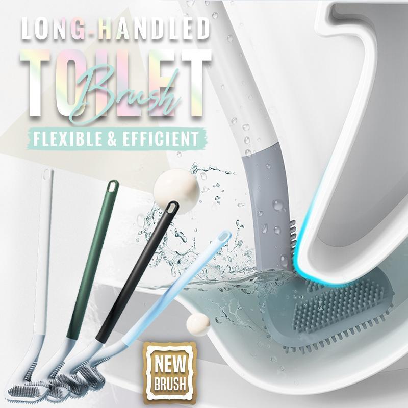 Spazzola per la pulizia della toilette con manico lungo, spazzole per wc in Silicone per bagno, spazzola per la pulizia della toilette, testina in Silicone pieghevole