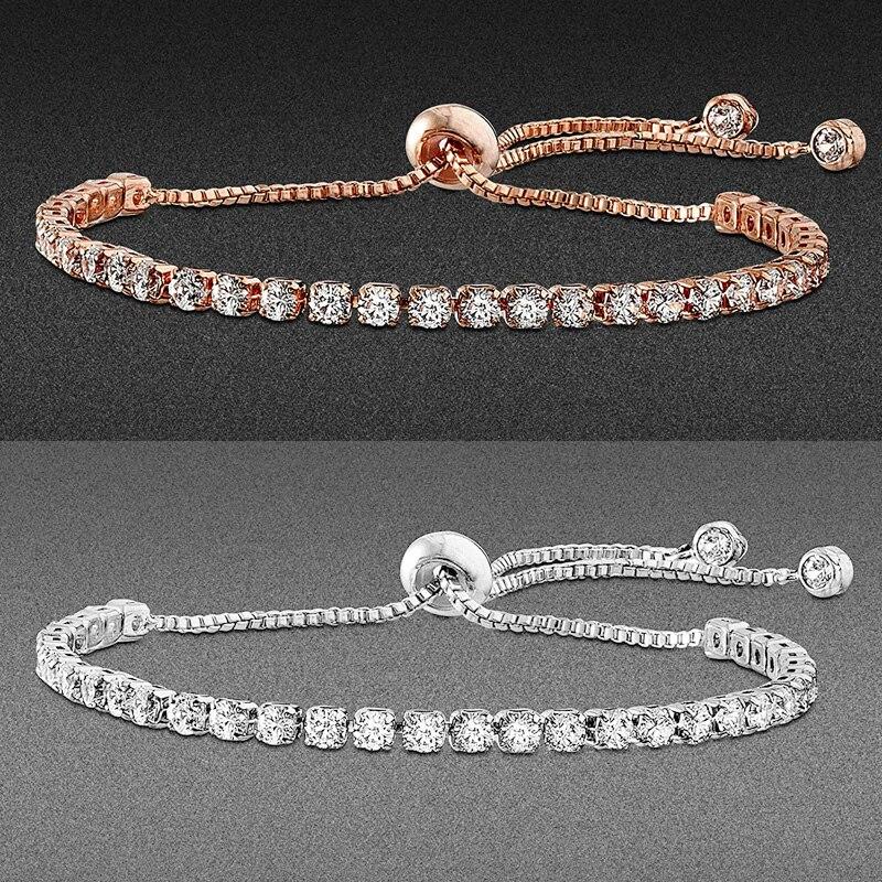 Модный женский браслет для тенниса с фианитами, ювелирные изделия с кристаллами циркона, регулируемые золотистые и Серебристые браслеты-це...