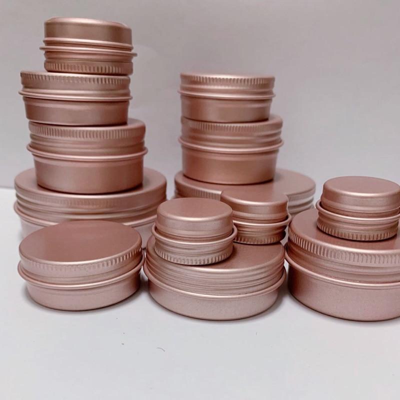 5g 10g 15g 20g 30g 60g Matte Rose Gold Empty Aluminum Metal Containers Liquid Makeup Cream Cans Jars for Women 50pcs