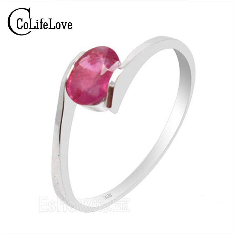 100% Natural genuino rubí piedras preciosas anillo de Plata a la moda sólida plata esterlina 925 anillo de bodas con rubí mejor regalo para chica