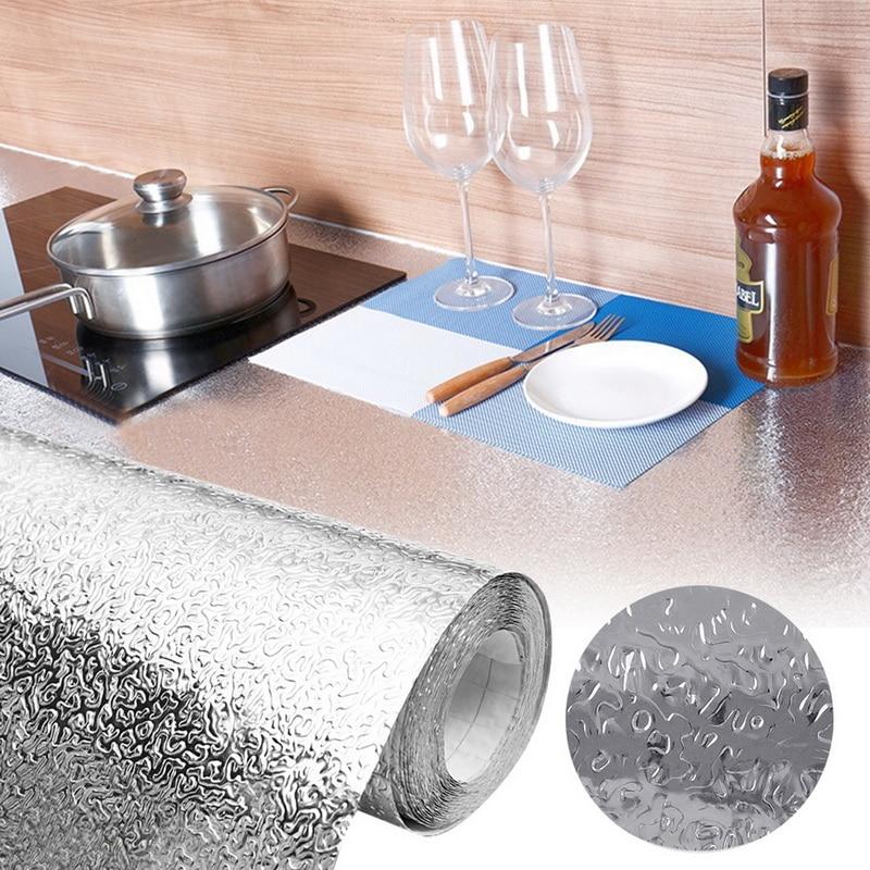 La pared de la cocina estufa papel de aluminio Aceite prueba pegatinas Anti-fouling de alta temperatura auto-adhesivo Croppable pared StickerWallpaper