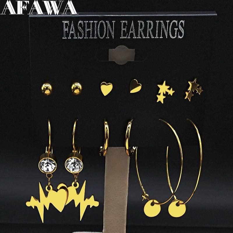 6 paar Herzschlag Edelstahl Hoop Ohrringe Set Frauen Gold Farbe Earing Schmuck joyas de acero inoxidable para mujer E612875