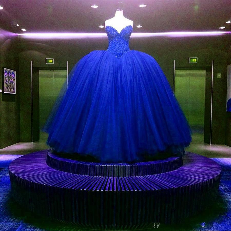 2020 Royal Blue Wedding Dress Sexy V-neck Strapless Beads Princess Ball Gown New For Formal Party Bridal Dress свадебное платье