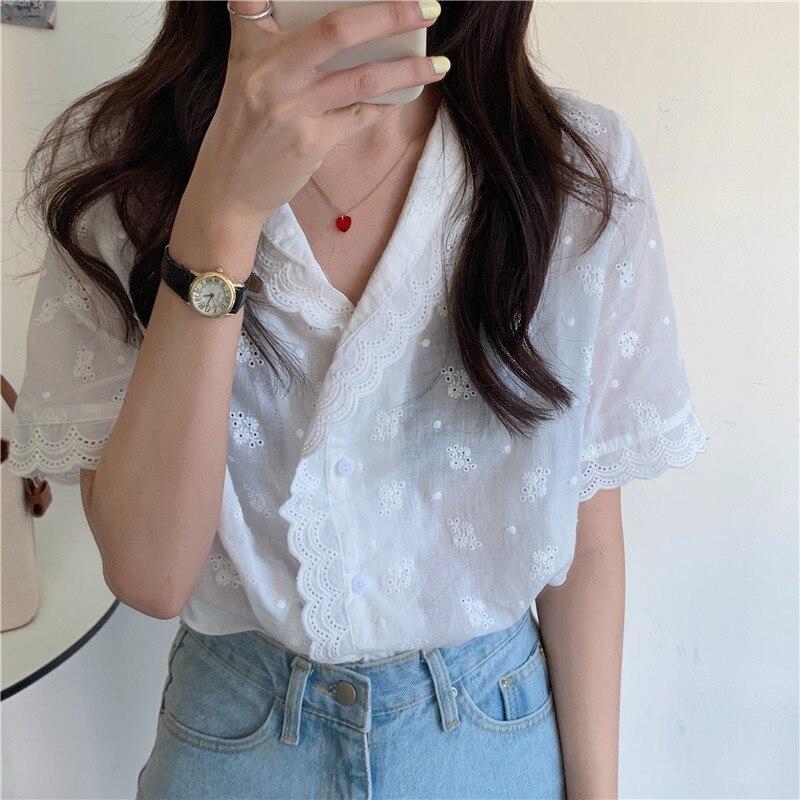 Novedad en Blusas holgadas Vintage de primavera para mujer, Blusas de manga corta para mujer, Blusas de talla grande de verano para chica, Blusas para mujer