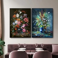 retor nordic flower oil painting on canvas bedroom decor modern wall art posters for living room pictures home decorationt
