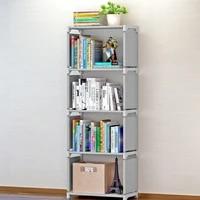 simple bookshelf stainless steel easy moving assembled shelf bookcase creative modern home decoration shelf