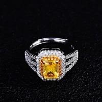 genuine 925 sterling silver wedding rings anillos de fine silver 925 jewelry yellow topaz gemstone bizuteria rings party anel