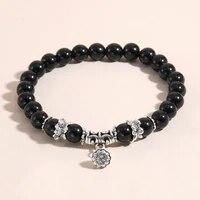 8mm natural semi precious stones elastic rope lotus pendant yoga travel fashion female charm party jewelry dropshopping bracelet