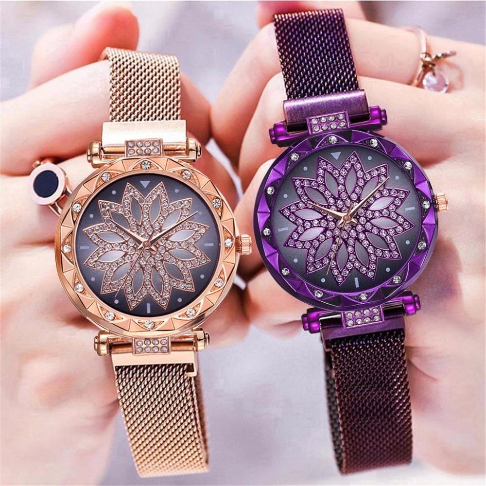 Hot Fashion Women Magnet Buckle Lucky Flower Watch Luxury Ladies Rhinestone Quartz Watch Clock Relog