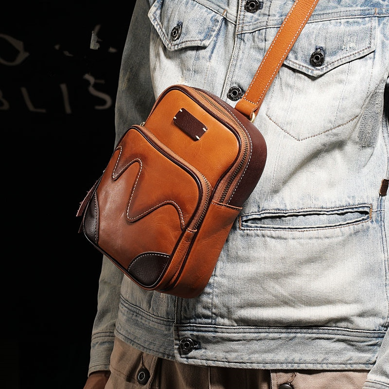 Fashion handmade design chest bag head layer soft cowhide casual mens messenger natural real vertical