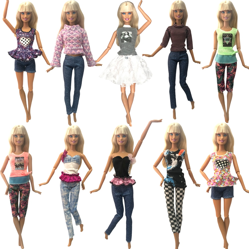 Nk nova mistura 1x adorável roupas de boneca mini vestido saia de boneca diário casual festa vestido para barbie boneca acessórios do miúdo menina brinquedo jj
