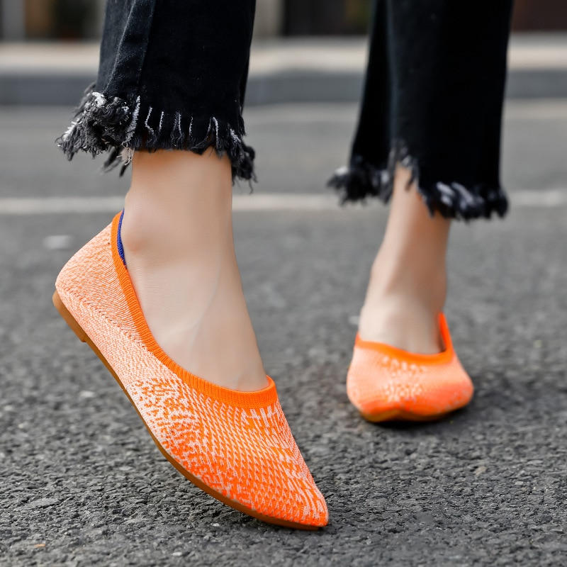 Women's Flat Shoes Woman Pointed Toe Mesh Slip on Flats Shallow Casual New Mixed Color Sexy Ladies Shoe Spring Plus Size 35-42