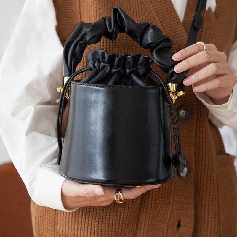 Bucket Handbag Women Drawstring Leather Bags For Women 2021 New Small Crossbody Messenger Bag sac a main Mini Hand Purse