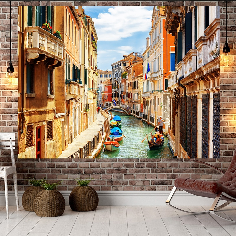 Jayi Italian Style Building Landscape Scenery Art Natural Views Room Wall Hanging Fashion Tapestry Living Room Home Decor 99GT