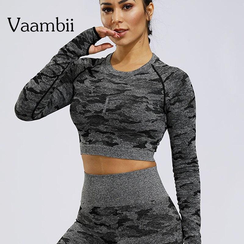 Camiseta deportiva de manga larga para Yoga para mujer, camiseta sin costuras para hacer ejercicio, Camiseta deportiva para mujer, ropa deportiva para Fitness