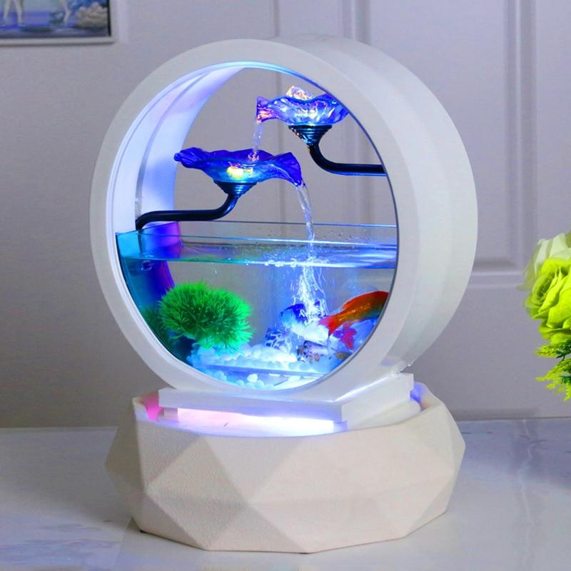 حوض سمك ذهبية لتزيين غرفة المعيشة صغير بيئي لسطح المكتب منزلي زجاج أبيض فائق إبداعي بديل مجاني لحوض الأسماك