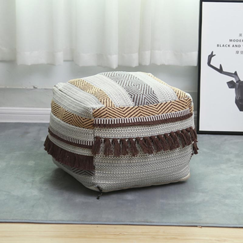Ottoman Sofa Cover Square For Living Room Lazy Sofa Pouf For Kids Adults Linen Cloth Lounger Seat Couch Tatami Chair With Tassel