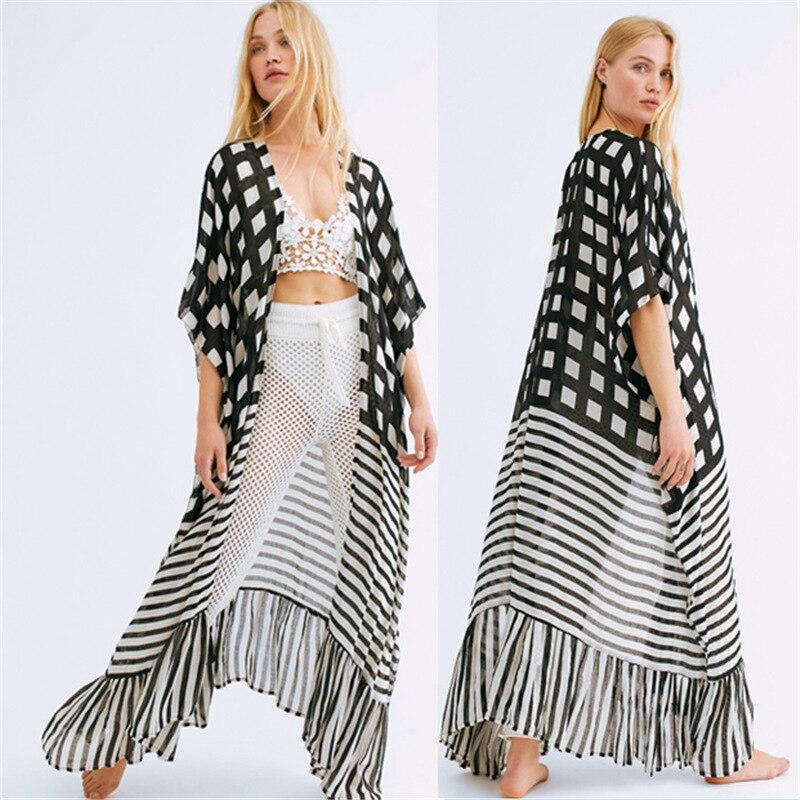 Boêmio xadrez listrado capa ups sexy verão vestido de praia túnica mulher beachwear maiô cobrir biquíni envoltório sarongs
