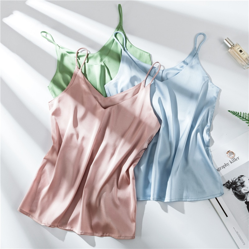 Top woman  sexy top Spaghetti Strap Top Women Halter V Neck Sleeveless Tank Tops Satin Silk  Women'S Summer Camisole plus size