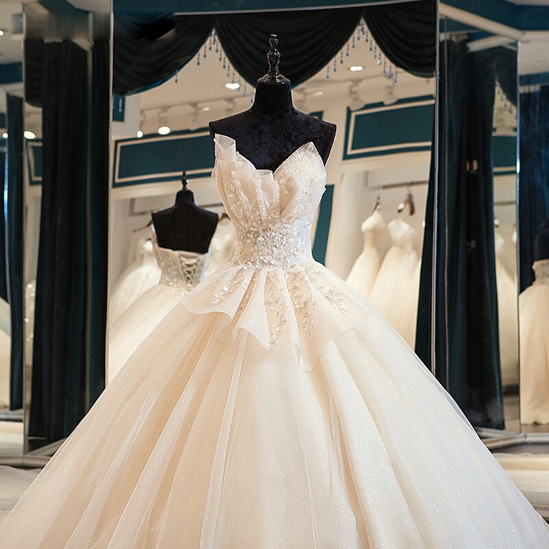 فستان زفاف فاخر من الدانتيل ، فستان زفاف أنيق بدون حمالات مع ذيل ، مقاس مخصص ، 2021
