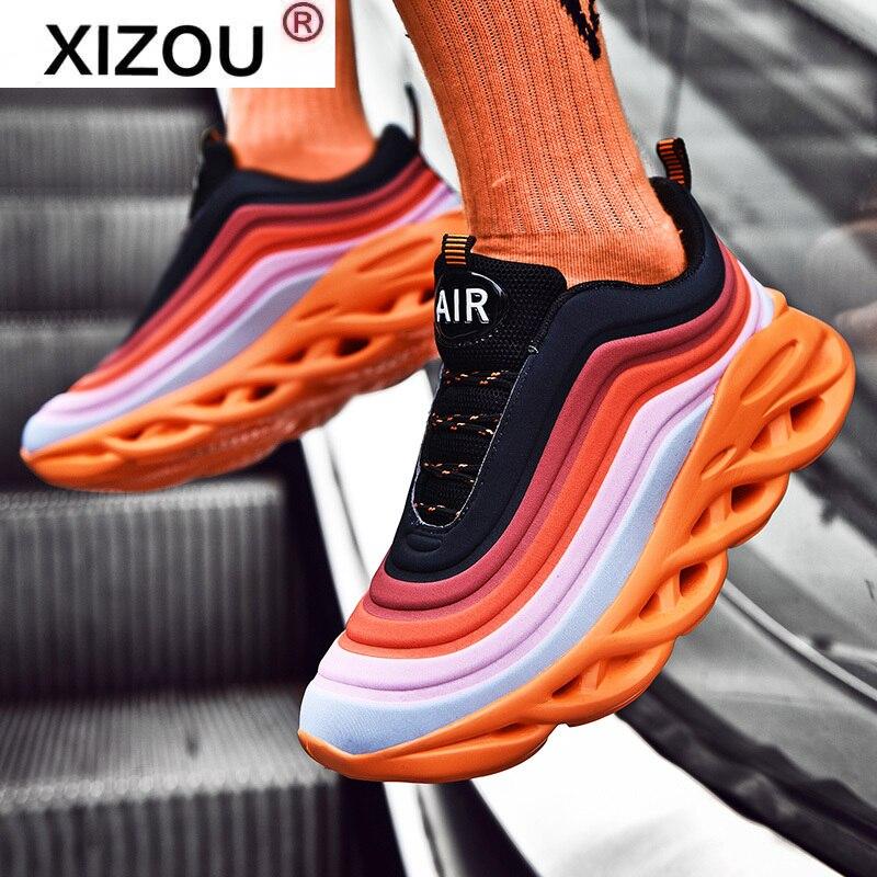 Sola de Sapatos casuais masculinos para homem trainer zapatillas deportivas hombre moda esporte tenis de corrida mais tamanho