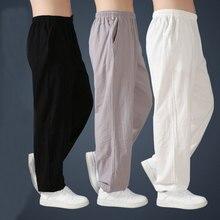 Pantalon en lin de coton ample pour hommes sarouel pantalon de Tai Chi pour hommes Arts martiaux Kung Fu été pantalon de course Yoga