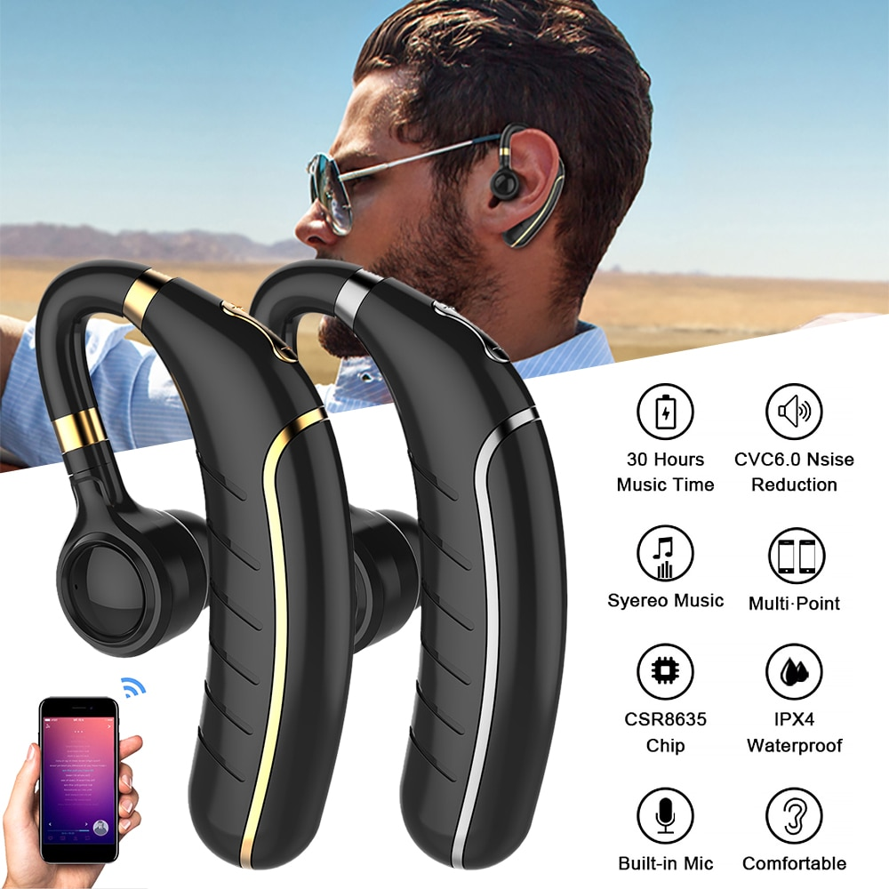 GDLYL Bluetooth 5,0, Auriculares deportivos, Mini auriculares inalámbricos, auriculares manos libres, auriculares de bucle, auriculares de música para teléfono IOS Android