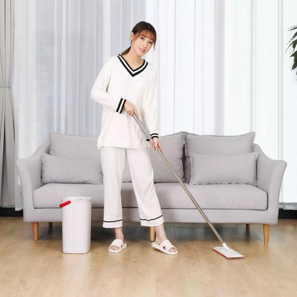 Cleanhome Flat Squeeze Mop and Bucket with Hand Washing Microfiber Free 2 Mop Cleaning Cloth Kitchen Wooden Floor Lazy Floor Mop enlarge