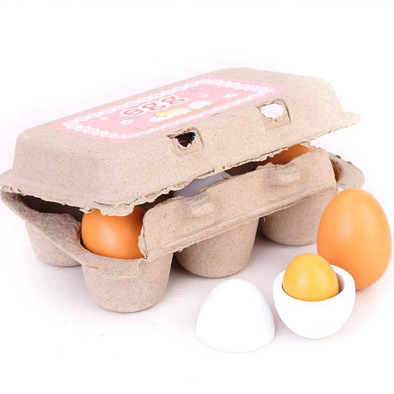 Simulación 6 uds juego de yema de huevo de madera juguete para juego de imitación comida cocina divertida antiestrés cocina juguete para regalo educativo para niño bebé