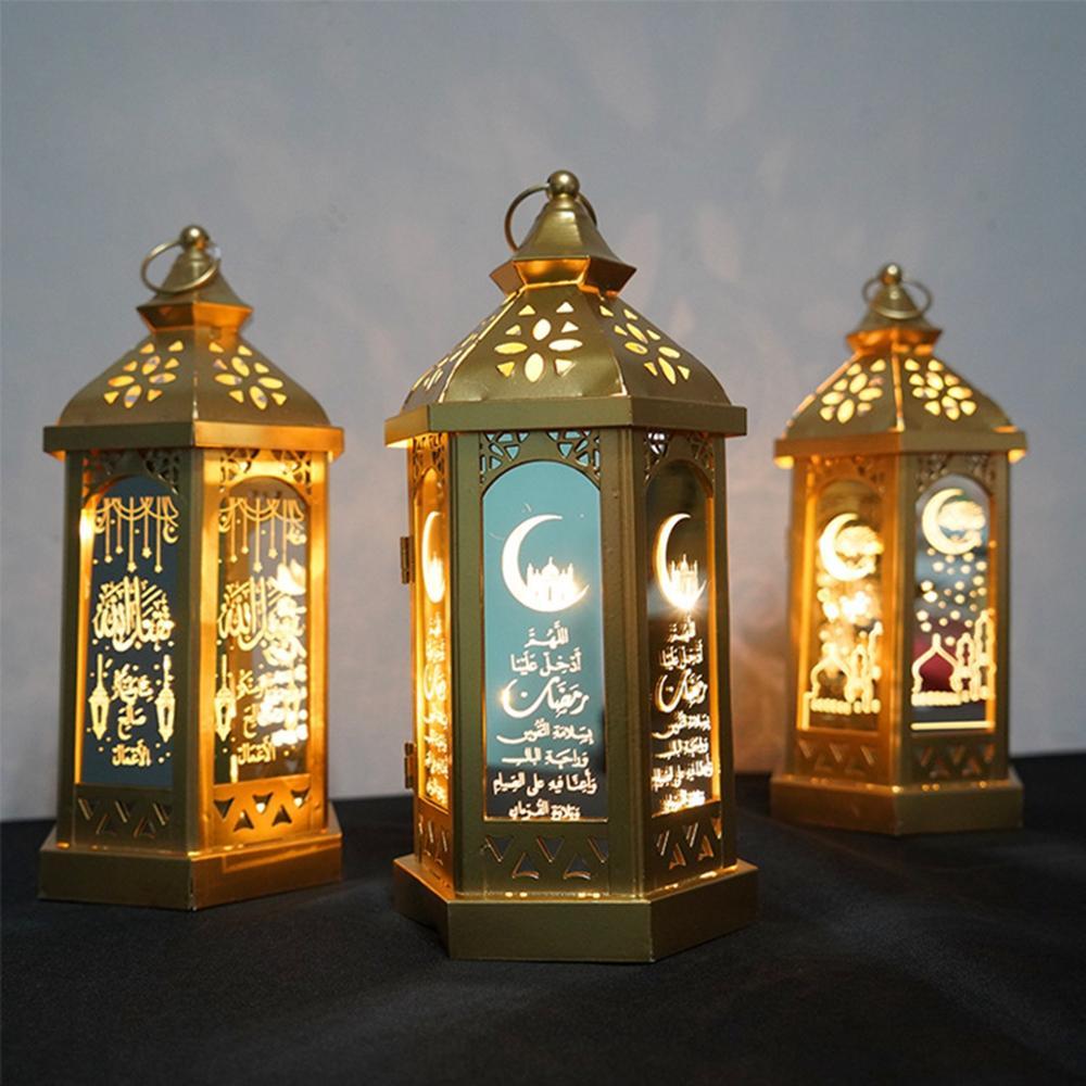 Fengrise, luces LED de Metal, linterna para eventos Feliz Eid decoración de Mubarak Ramadán para el hogar, suministros para fiestas islámicas musulmanas Eid Al Adha