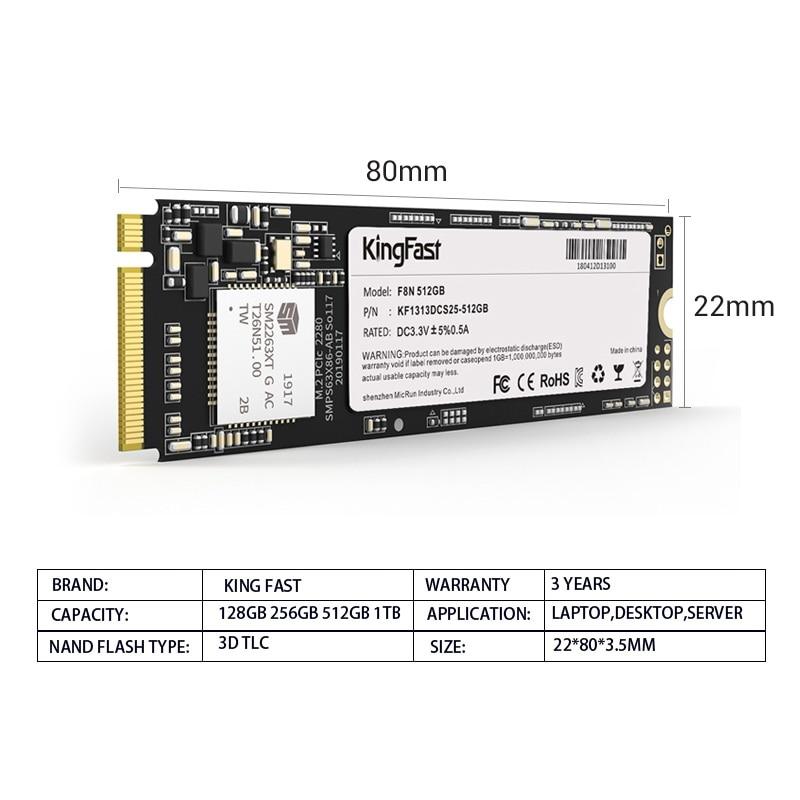 Kingfast SSD M2 NVME PCIe 128GB 256GB 512GB 1 TB M.2 Solid State Drive 2280 Internal Hard Disk HDD for Laptop Desktop enlarge