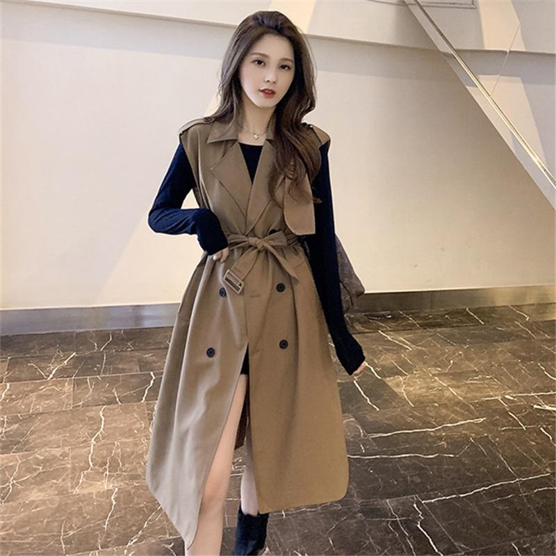 Новое Женское осеннее пальто, жилет, Тренч, ветровка, трендовая двубортная с поясом, длинное женское пальто без рукавов B627
